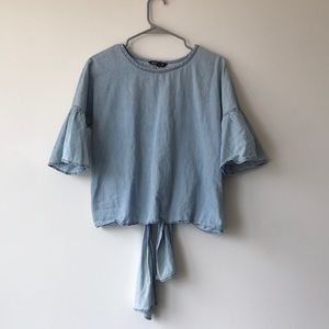 Express Flutter Denim Blouse